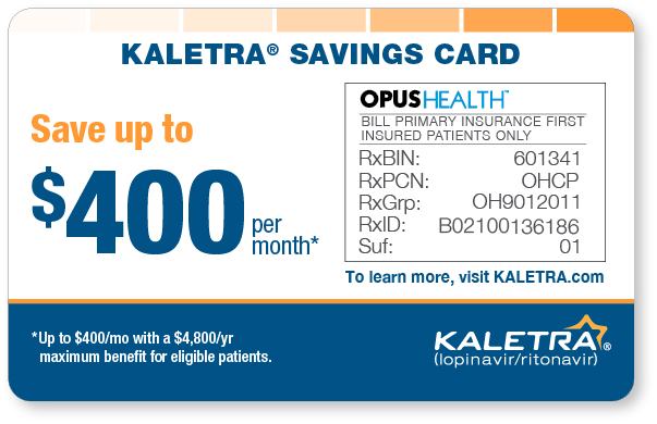 KALETRA copay card; savings 2